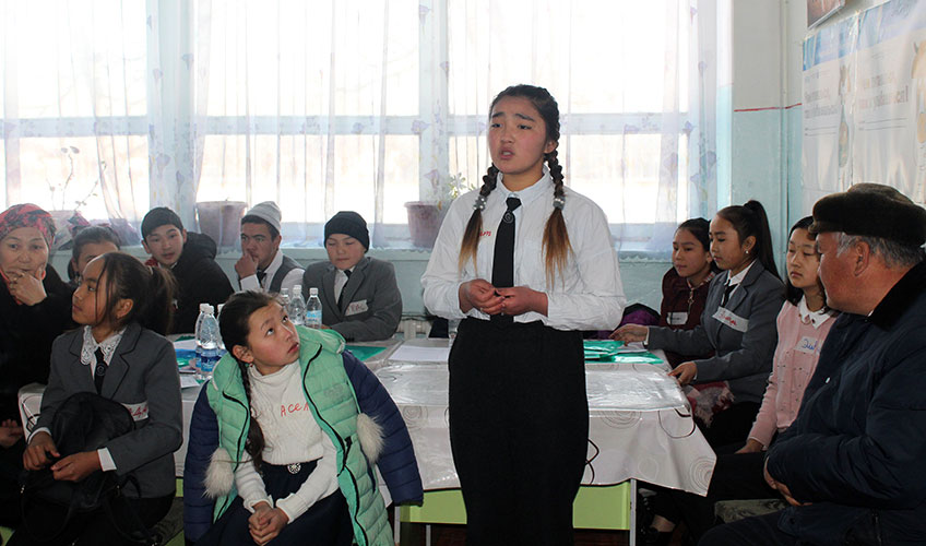 Students in Kyrgyzstan attending a seminar on child rights