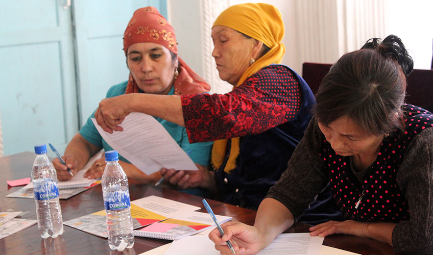 Participants taking part in a training to understand the Constitution of Kyrgyzstan