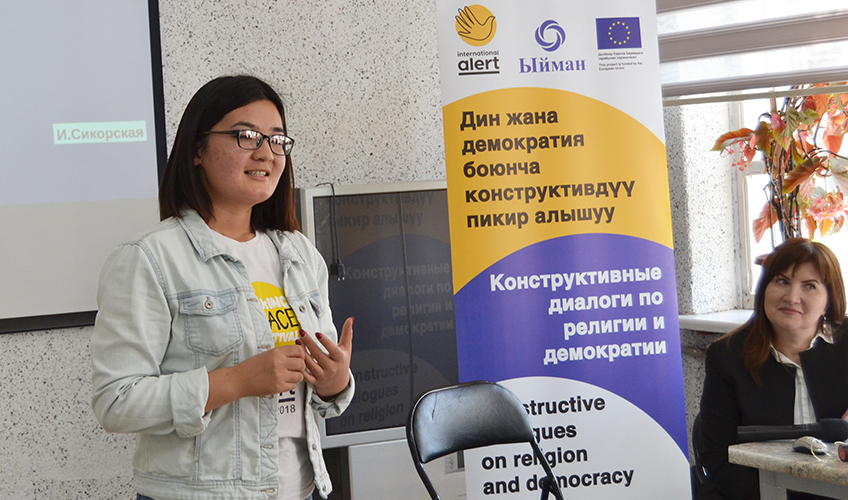 Malika Kartanbaeva addresses a discussion club in her home town of Tokmok