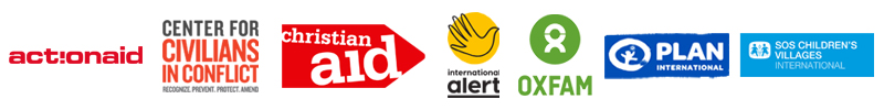 Logos of International Alert, Center for Civilians in Conflict, Christian Aid, Oxfam, Plan International, S)S Children's Villages