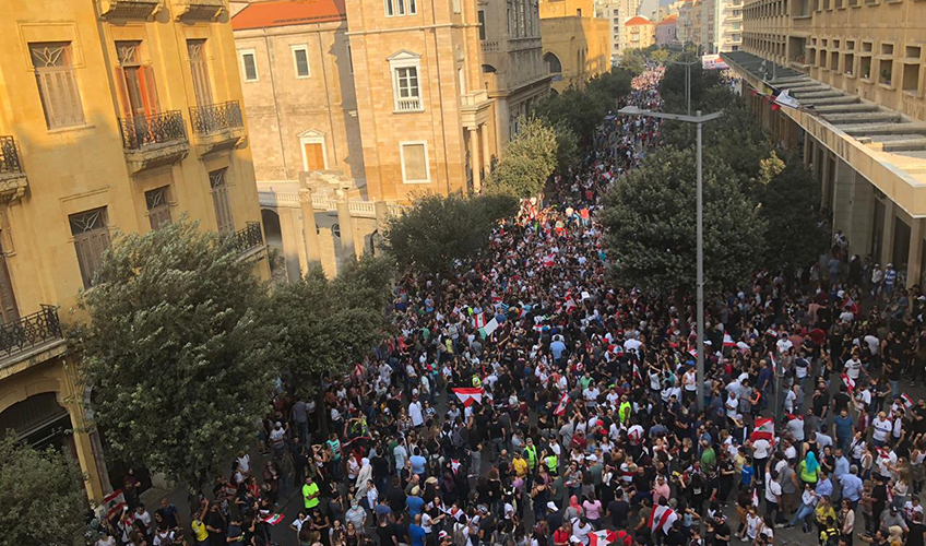 Protesters in Beirut, Lebanon